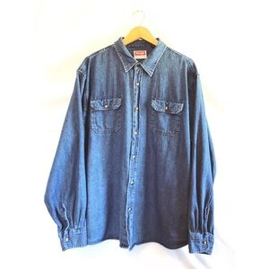 Wrangler denim chambray button down shirt